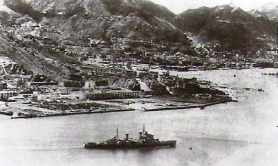 HMS Swiftsure boldy sails into Japanese-occupied Hong Kong on 30 Aug 1945